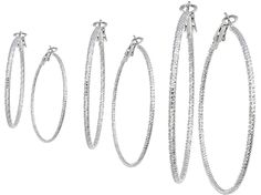 Silver And Gold Plate Hoop Dangle Earrings Set For Girls Teen And Women Diamond Cut 3 Pairs By Gold And Luster *** You can find more details by visiting the image link.