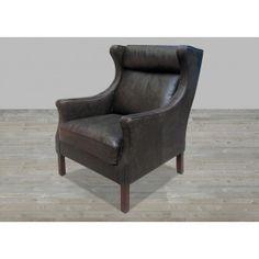 Mountain Black Leather Armchair #SilverCoastCompany