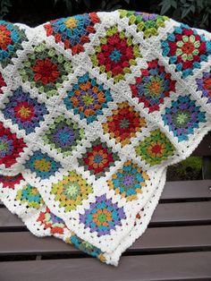 Add a dash of whimsy and functional warmth to your home with this original hand crochet blanket. It is a wonderful mixture of purples, blues, greens, yellows, reds and oranges . It measures 72 x 38 and would be great as a single bed cover. Similar items can be viewed at http://www.etsy.com/shop/LOMamas