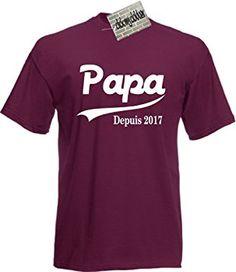 Papa Depuis 2017 T-shirt Coton Naissance Nouveau Bébé Père