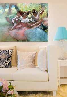 I've always loved Degas and really LOVE how feminine this living room looks with his work!
