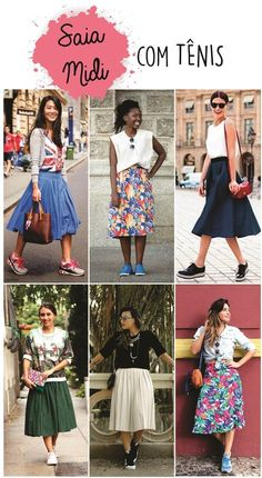 Trendy ideas how to wear sneakers to work women Basic Fashion, Long Skirt Fashion, Modest Fashion, Fashion Looks, Fashion Outfits, Fashion Trends, Sneakers To Work, How To Wear Sneakers, Skirt And Sneakers