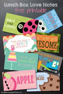 8 Free Lunchbox Printable Cards Just in Time for Back-to-School: I Should Be Mopping the Floor