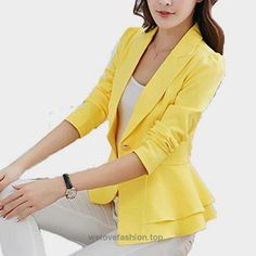FCYOSO Womens Long Sleeve Falbala Solid Slim Casual Suit Jacket Blazer Coat (US,L/Asia,XL) Yellow  BUY NOW     $49.00     FCYOSO     NOTES:    Due to monitor settings, monitor pixel definitions, we cannot guarantee that the color you see on your screen as an exact color of the product ..