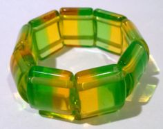 Two Tone MOD Lucite stretch expansion bracelet- Green and yellow