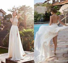 Playa romántica cintura alta vestidos de novia de gasa lado rendija de encaje vestido backless tribunal tren vestidos de novia patinador.