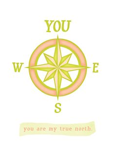 Valentines Day Card / You are my true north / art print card / unique anniversary or wedding gift / card / coral chartreuse. $4.00, via Etsy.