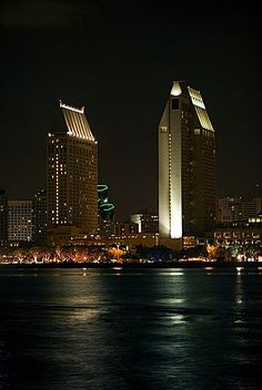 Panoramic view of city at night, San Diego Bay, San Diego, California, USA