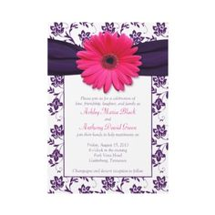 Pink gerbera daisy with violet purple and white damask floral wedding invitation. Text is easy to personalize on your own. #weddings #invitations