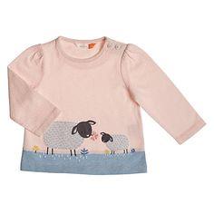 Buy John Lewis Baby Sheep Applique Long Sleeve Top, Pink   John Lewis