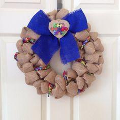 Burlap Autism Awareness Wreath Ryan's by onceuponaflowerbyMW, $27.50