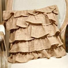 """New Primitive Shabby French Country Chic RUFFLED BURLAP Accent Pillow 16"""" #FrenchCountry"""