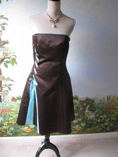 Jessica McClintock Brown Satin Strapless Wedding Prom Formal Dress SZ 9/10 #JessicaMcClintock #BallGown #Formal