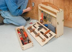 Whether you primarily work in the shop or on-the-go, this sturdy and stylish tool tote has plenty of room to hold all of your must-have tools. Wood Tool Box, Wooden Tool Boxes, Wood Tools, Workshop Storage, Tool Storage, Garage Workshop Plans, Storage Cart, Garage Plans, Garage Storage