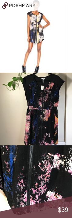 """Bar Iii Cap-Sleeve Zip-Front Paint-Print Dress.B93 Bar Iii Cap-Sleeve Zip-Front Paint-Print Dress. 98% polyester 2% spandex. 22"""" across armpit to armpit 38"""" long. Elastic waistband ( 44"""" when stretched) Black combo colored. Bar III Dresses Mini"""