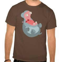 Cute Laughing Cartoon Hippo T-Shirt by Cheerful Madness!! WANT!!