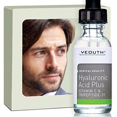 Mens Best Anti Aging Vitamin C Serum with Hyaluronic Acid  Tripeptide Maximum Percentage VitaminC Topical Vit C Can Make Your Face Look Ten Years Younger 100 ** You can find more details by visiting the image link.