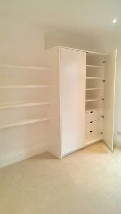 Contemporary wardrobe with floating shelves