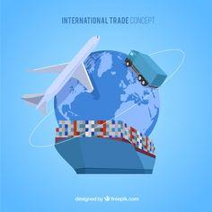 Map Geo, Company Banner, Warehouse Logistics, Logo Clipart, Big Sea, Cargo Container, Cartoon Background, International Trade, Flat Design