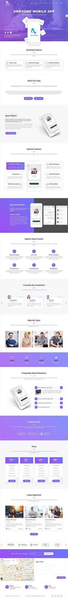 Appino is clean and modern design responsive #HTML template for mobile #app landing page website download now..