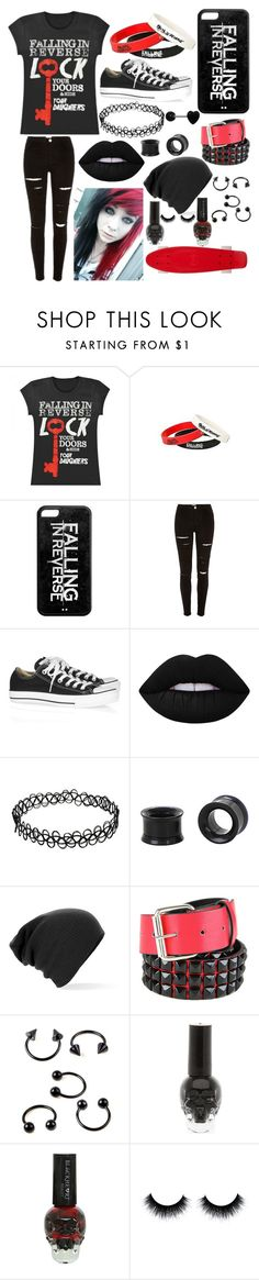 """""""Falling in Reverse ❤️"""" by cassiopeia-lestrange ❤ liked on Polyvore featuring Converse, Lime Crime and CO"""