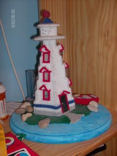 plastic canvas lighthouse