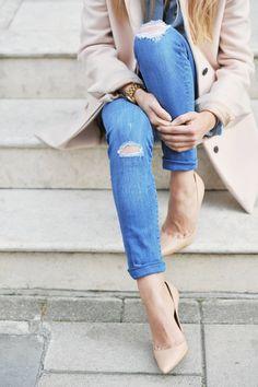 nude heels & coat with denim