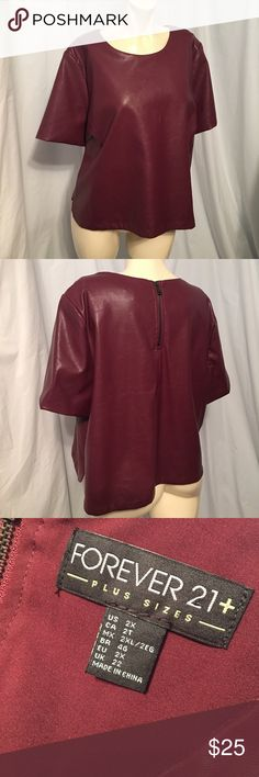 Forever 21 Plus Faux Leather Top Forever 21 Plus Faux Leather Top. Fully lined! Cute top! Forever 21 Plus Tops