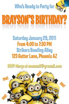 template for a dispicable me invitation cards | despicable me minions birthday