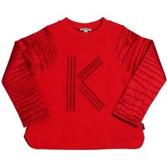 KENZO KIDS Cotton And Satin Sweatshirt (675 CNY) ❤ liked on Polyvore featuring red