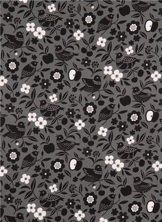grey bird flower oxford fabric by Cosmo from Japan