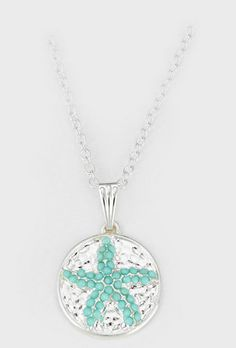 Starfish Coin Necklace Dotted in Turquoise