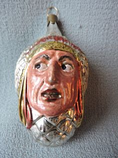 Vtg German Mercury Glass Christmas Ornament NATIVE CHIEF 1940 Lauscha -- Antique Price Guide Details Page