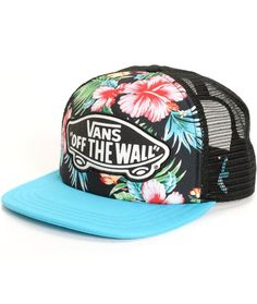 0056803a09 Vans Beach Girl Hawaiian Floral Trucker Hat Flat Bill Hats