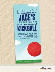 Kickball invitations - set of 12