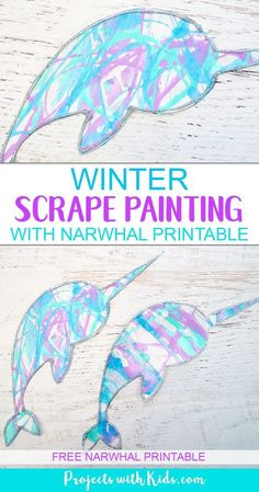 Winter Scrape Painting with Narwhal Printable - Winter Crafts for Kids - This winter scrape painting activity is a fun and super easy process art project that kids in presc - Winter Art Projects, Easy Art Projects, Winter Crafts For Kids, Craft Projects For Kids, Kids Crafts, Craft Ideas, Preschool Projects, Easy Arts And Crafts, Kids Diy