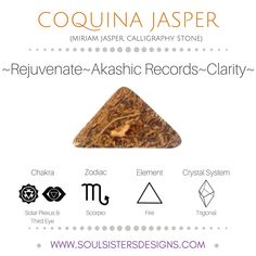 Metaphysical Healing Properties of Coquina Jasper, including associated Chakra, Zodiac and Element, along with Crystal System/Lattice to assist you in setting up a Crystal Grid. Go to https:/soulsistersdesigns.com to learn more!