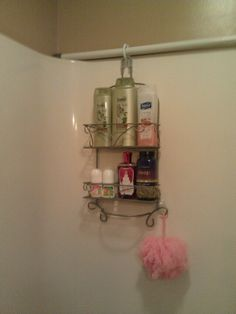 I saw this idea on Pinterest for adding a caddy or more bathroom storage in the tub and shower. So, here it is, implemented in my bathroom!