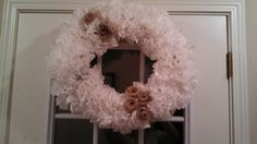 A beautiful wreath that cost less than 10 bucks to make! Coffee Filter Wreath, Coffee Filters, Burlap Wreath, Wreaths, How To Make, Diy, Craft Ideas, Beautiful, Home Decor