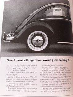 Volkswagen - One of the nice things about owning it is selling it #Advertising