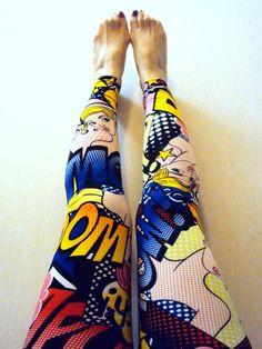 Comic Print Leggings Women's Tights Yoga Pants by GrahamsBazaar, $44.89