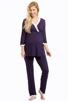 PinkBlush Maternity Navy Lace Trim Maternity Pajama Top Medium ** Continue to the product at the image link. Stylish Maternity, Maternity Fashion, Maternity Style, Pregnancy Outfits, Pregnancy Tips, Pregnancy Clothes, Maternity Pajamas, Maternity Skinny Jeans, Bump Style