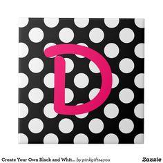 Create Your Own Black and White Polka Dot Monogram Tile