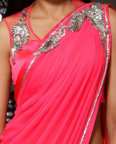 This saree made of pure chiffon fabric in dark pink color having silver color hand work embroidery on it. This party wear saree comes with a designer blouse and taffeta petticoat Fancy Sarees, Party Wear Sarees, Indian Attire, Indian Ethnic Wear, Blouse Patterns, Saree Blouse Designs, Indian Dresses, Indian Outfits, Indian Clothes