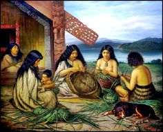 An oil on canvas painting by Gottfried Lindauer of Maori women weaving flax baskets, Auckland Art Gallery Auckland Art Gallery, Maori Words, Polynesian People, Flax Weaving, Maori People, Tlingit, Maori Art, Oil On Canvas, Original Art