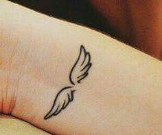 Discovered by Find images and videos about pretty, tattoo and angel on We Heart It - the app to get lost in what you love. Angle Wing Tattoos, Wing Neck Tattoo, Small Arrow Tattoos, Tiny Tattoos For Girls, Tattoos For Daughters, Little Tattoos, Small Tattoos, Petite Tattoos, Mini Tattoos