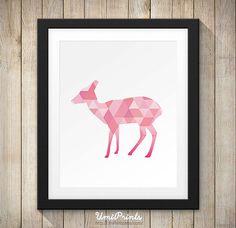 Pink Fawn Wall Art Print Digital - Instant Download   Geometric Print, Geometric Printable , Deer Print, Deer Wall art, Deer Wall Printable