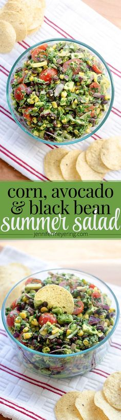 Corn, Avocado, & Black Bean Summer Salad | http://JenniferMeyering.com