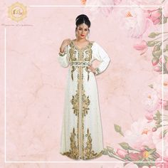 A cream kaftan dress with multicoloured sequins and hand embroidery like this, is sure to make you look ethereal on your wedding day!  Get a free belt with this outfit!  Product no: 7704 Kaftan Abaya, Georgette Fabric, On Your Wedding Day, Ethereal, Color Mixing, Hand Embroidery, Bridal Dresses, Sequins, Belt