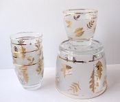 Libbey Golden Foliage Ice Bucket & Glass Set